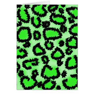 Black and Lime Green Leopard Print Pattern. Card