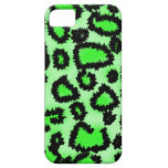 Black and Lime Green Leopard Print Pattern. iPhone 5 Cases
