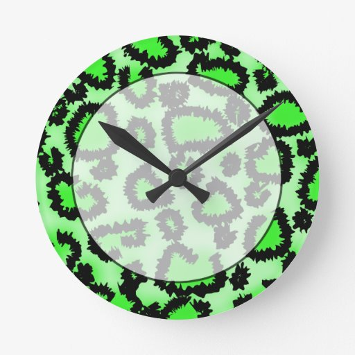 Black and Lime Green Leopard Print Pattern. Clocks