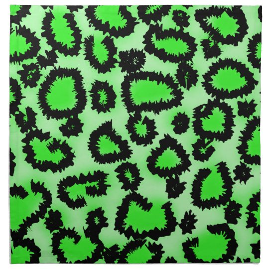 Black and Lime Green Leopard Print Pattern. Cloth Napkin
