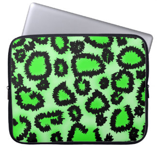 Black and Lime Green Leopard Print Pattern. Computer Sleeve
