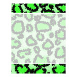Black and Lime Green Leopard Print Pattern. Full Color Flyer