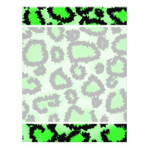 Black and Lime Green Leopard Print Pattern. Flyer