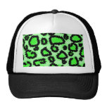 Black and Lime Green Leopard Print Pattern. Mesh Hats