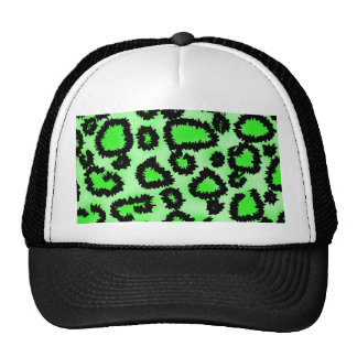 Black and Lime Green Leopard Print Pattern Mesh Hats