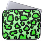 Black and Lime Green Leopard Print Pattern. Laptop Sleeve