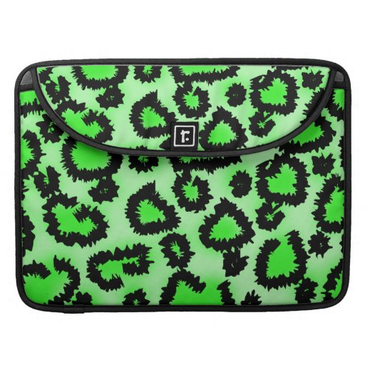 Black and Lime Green Leopard Print Pattern. Sleeves For MacBook Pro