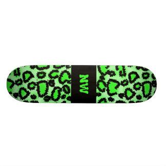 Black and Lime Green Leopard Print Pattern. Skateboard