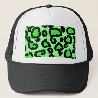 Black and Lime Green Leopard Print Pattern. Trucker Hat