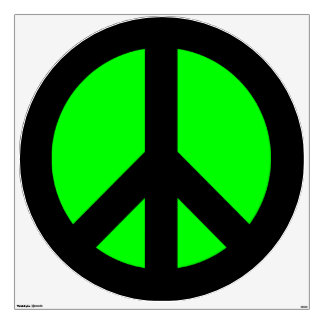 Black and Lime Green Peace Sign Room Stickers