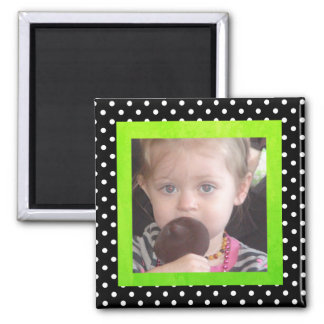 Black and Lime Green Photo Magnet Polka Dots