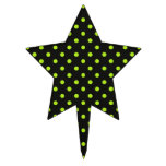 Black and Lime Green Polka Dot Cake Topper