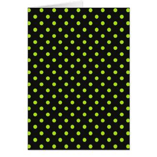 Black and Lime Green Polka Dot Card