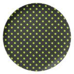 Black and Lime Green Polka Dot Dinner Plate