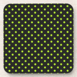 Black and Lime Green Polka Dot Drink Coaster