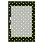 Black and Lime Green Polka Dot Dry-Erase Board