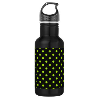 Black and Lime Green Polka Dot Water Bottle