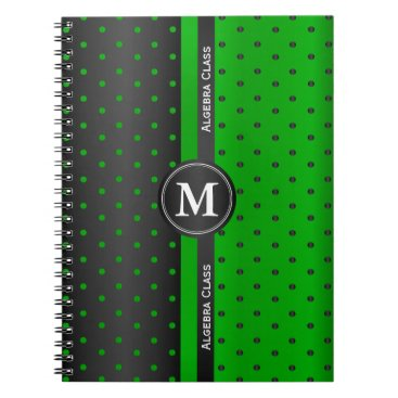 Beach Themed Black and Lime Green Polka Dots Notebook
