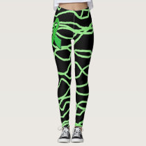 Black and Lime Green Squiggly Lyme Leggings