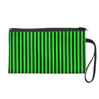 Black and Lime Green Stripe Wristlet