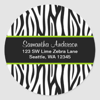 Black and Lime Green Zebra Custom Address Label