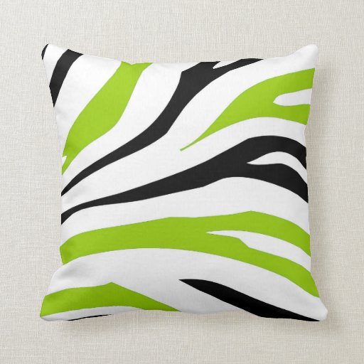 black and lime green zebra stripes print pillow zazzle. Black Bedroom Furniture Sets. Home Design Ideas