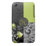 Black And Lime Personalized Artwork iPhone 3 Cases