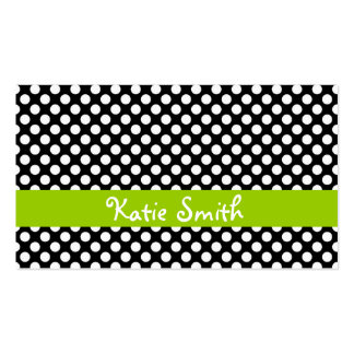 Black and Lime Polka Dot Double-Sided Standard Business Cards (Pack Of 100)
