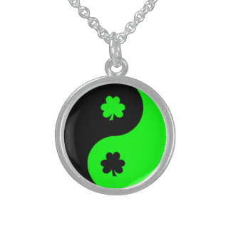 Black and Lime Shamrock Yin Yang Sterling Silver Necklace