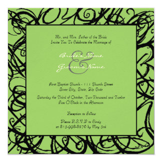 Black and Lime Sketchy Frame Wedding Invitation