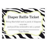 Black and Lime Zebra Diaper Raffle Ticket Business Card Template