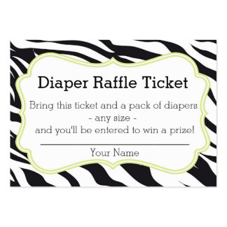Black and Lime Zebra Diaper Raffle Ticket Large Business Card
