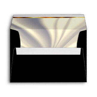 Black and Lined Off White Satin Envelope