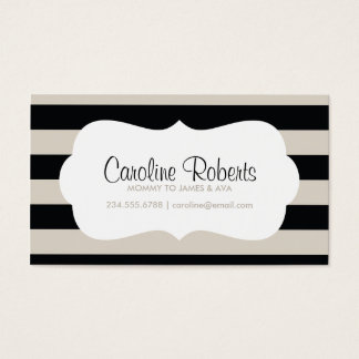 Black and Linen Modern Stripes and Dots Business Card
