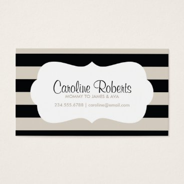 Beach Themed Black and Linen Modern Stripes and Dots Business Card