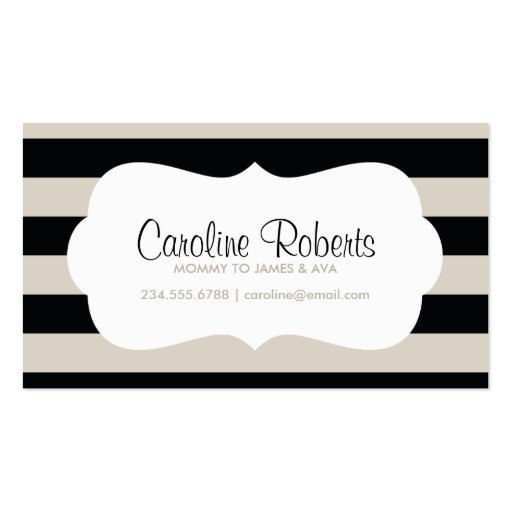 Black and Linen Modern Stripes and Dots Business Cards