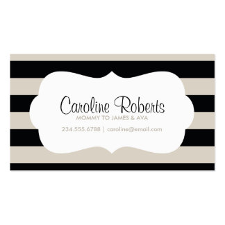 Black and Linen Modern Stripes and Dots Double-Sided Standard Business Cards (Pack Of 100)
