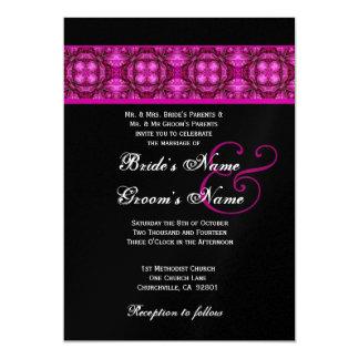 Black and Magenta Vintage Bows Wedding Metallic 5x7 Paper Invitation Card