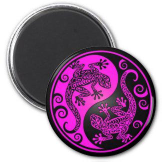 Black and Magenta Yin Yang Geckos 2 Inch Round Magnet