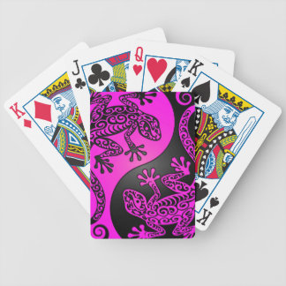 Black and Magenta Yin Yang Geckos Bicycle Playing Cards
