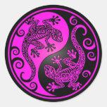 Black and Magenta Yin Yang Geckos Classic Round Sticker