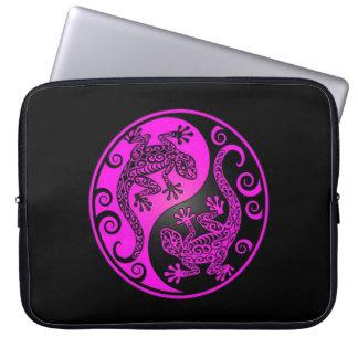 Black and Magenta Yin Yang Geckos Laptop Computer Sleeves
