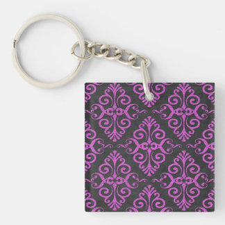 Black and Majenta Pink Ancient Lookin Damask Keychain