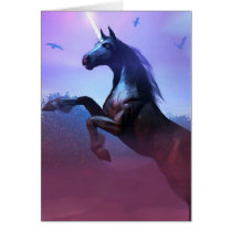 unicorn, unicorns, majestic, horse, horses, fantasy, fantasies, art, magic, magical, mystical, mystic, wild, free, horn, glow, digital realism, Card with custom graphic design