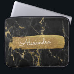 "Black and Marble with Gold Foil and Glitter Computer Sleeve<br><div class=""desc"">Black and Marble with Gold Foil and Glitter Elegant Monogram Name Case. This case can be customized to include your first name.</div>"
