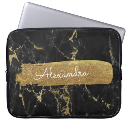 Black and Marble with Gold Foil and Glitter Computer Sleeve