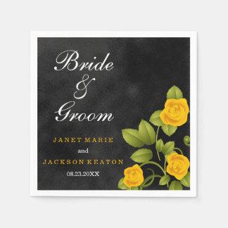 Black and Marigold Yellow Rose Wedding Napkin