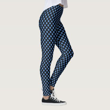 Beach Themed Black and Marina Polka Dots Leggings