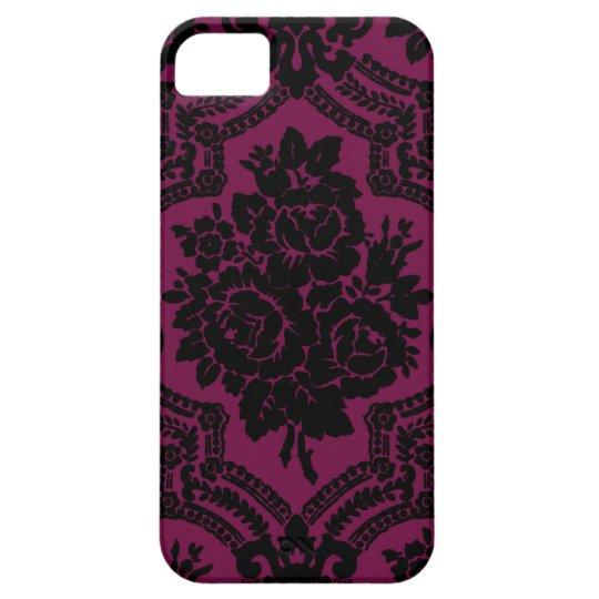 Black and maroon simple victorian rose print. iPhone SE/5/5s case