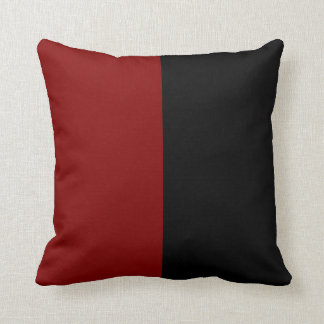 Black and Maroon Split Color. Throw Pillow